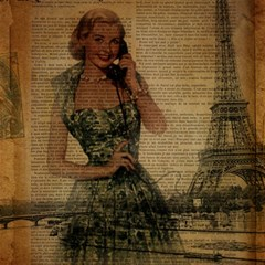 Retro Telephone Lady Vintage Newspaper Print Pin Up Girl Paris Eiffel Tower Canvas 16  x 16  (Unframed)