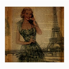 Retro Telephone Lady Vintage Newspaper Print Pin Up Girl Paris Eiffel Tower Canvas 16  x 20  (Unframed)