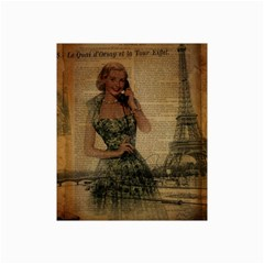Retro Telephone Lady Vintage Newspaper Print Pin Up Girl Paris Eiffel Tower Canvas 20  x 30  (Unframed)