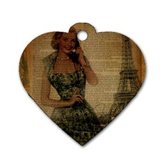 Retro Telephone Lady Vintage Newspaper Print Pin Up Girl Paris Eiffel Tower Dog Tag Heart (one Sided)
