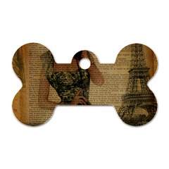 Retro Telephone Lady Vintage Newspaper Print Pin Up Girl Paris Eiffel Tower Dog Tag Bone (two Sided)