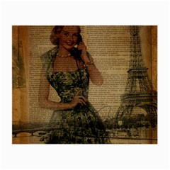 Retro Telephone Lady Vintage Newspaper Print Pin Up Girl Paris Eiffel Tower Glasses Cloth (small, Two Sided)