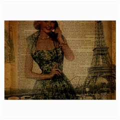 Retro Telephone Lady Vintage Newspaper Print Pin Up Girl Paris Eiffel Tower Glasses Cloth (Large, Two Sided)