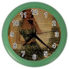 Retro Telephone Lady Vintage Newspaper Print Pin Up Girl Paris Eiffel Tower Wall Clock (color)