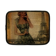 Retro Telephone Lady Vintage Newspaper Print Pin Up Girl Paris Eiffel Tower Netbook Case (small)