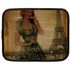 Retro Telephone Lady Vintage Newspaper Print Pin Up Girl Paris Eiffel Tower Netbook Case (Large)