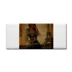 Retro Telephone Lady Vintage Newspaper Print Pin Up Girl Paris Eiffel Tower Hand Towel