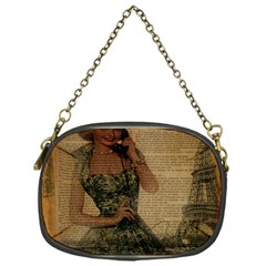 Retro Telephone Lady Vintage Newspaper Print Pin Up Girl Paris Eiffel Tower Chain Purse (One Side)
