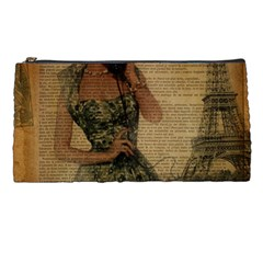 Retro Telephone Lady Vintage Newspaper Print Pin Up Girl Paris Eiffel Tower Pencil Case