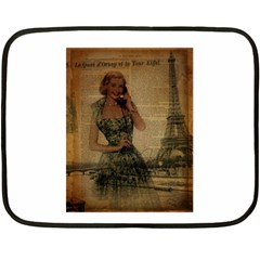 Retro Telephone Lady Vintage Newspaper Print Pin Up Girl Paris Eiffel Tower Mini Fleece Blanket (two Sided)