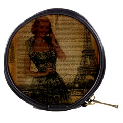 Retro Telephone Lady Vintage Newspaper Print Pin Up Girl Paris Eiffel Tower Mini Makeup Case