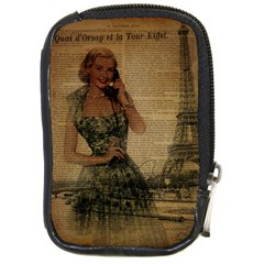Retro Telephone Lady Vintage Newspaper Print Pin Up Girl Paris Eiffel Tower Compact Camera Leather Case