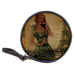Retro Telephone Lady Vintage Newspaper Print Pin Up Girl Paris Eiffel Tower CD Wallet