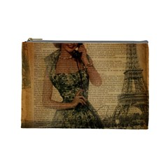 Retro Telephone Lady Vintage Newspaper Print Pin Up Girl Paris Eiffel Tower Cosmetic Bag (large)