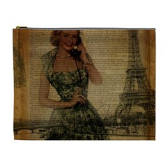 Retro Telephone Lady Vintage Newspaper Print Pin Up Girl Paris Eiffel Tower Cosmetic Bag (XL)
