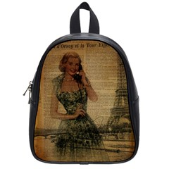Retro Telephone Lady Vintage Newspaper Print Pin Up Girl Paris Eiffel Tower School Bag (small)