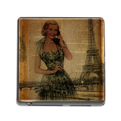 Retro Telephone Lady Vintage Newspaper Print Pin Up Girl Paris Eiffel Tower Memory Card Reader with Storage (Square)