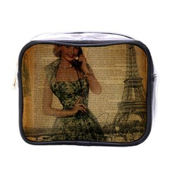 Retro Telephone Lady Vintage Newspaper Print Pin Up Girl Paris Eiffel Tower Mini Travel Toiletry Bag (One Side)