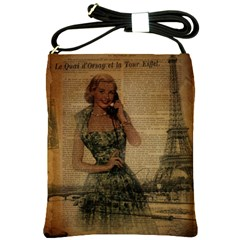 Retro Telephone Lady Vintage Newspaper Print Pin Up Girl Paris Eiffel Tower Shoulder Sling Bag