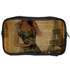 Retro Telephone Lady Vintage Newspaper Print Pin Up Girl Paris Eiffel Tower Travel Toiletry Bag (Two Sides)