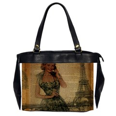 Retro Telephone Lady Vintage Newspaper Print Pin Up Girl Paris Eiffel Tower Oversize Office Handbag (Two Sides)