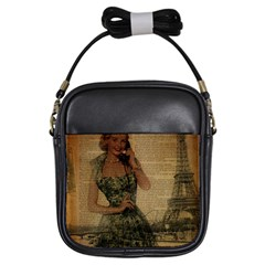 Retro Telephone Lady Vintage Newspaper Print Pin Up Girl Paris Eiffel Tower Girl s Sling Bag