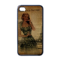Retro Telephone Lady Vintage Newspaper Print Pin Up Girl Paris Eiffel Tower Apple iPhone 4 Case (Black)