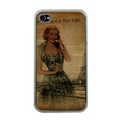 Retro Telephone Lady Vintage Newspaper Print Pin Up Girl Paris Eiffel Tower Apple iPhone 4 Case (Clear)
