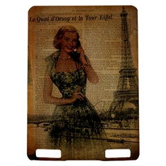 Retro Telephone Lady Vintage Newspaper Print Pin Up Girl Paris Eiffel Tower Kindle Touch 3G Hardshell Case