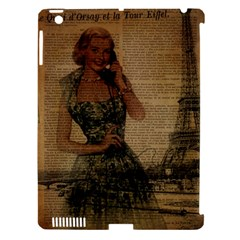 Retro Telephone Lady Vintage Newspaper Print Pin Up Girl Paris Eiffel Tower Apple iPad 3/4 Hardshell Case (Compatible with Smart Cover)