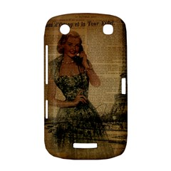 Retro Telephone Lady Vintage Newspaper Print Pin Up Girl Paris Eiffel Tower BlackBerry Curve 9380 Hardshell Case