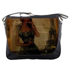 Retro Telephone Lady Vintage Newspaper Print Pin Up Girl Paris Eiffel Tower Messenger Bag