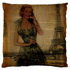 Retro Telephone Lady Vintage Newspaper Print Pin Up Girl Paris Eiffel Tower Large Cushion Case (Two Sided)