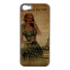 Retro Telephone Lady Vintage Newspaper Print Pin Up Girl Paris Eiffel Tower Apple iPhone 5 Case (Silver)