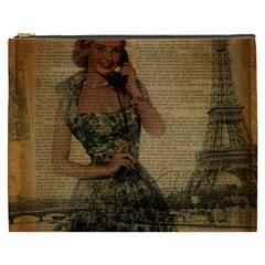 Retro Telephone Lady Vintage Newspaper Print Pin Up Girl Paris Eiffel Tower Cosmetic Bag (xxxl)