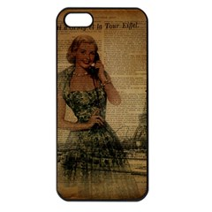 Retro Telephone Lady Vintage Newspaper Print Pin Up Girl Paris Eiffel Tower Apple Iphone 5 Seamless Case (black)