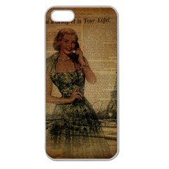 Retro Telephone Lady Vintage Newspaper Print Pin Up Girl Paris Eiffel Tower Apple Seamless iPhone 5 Case (Clear)
