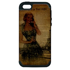 Retro Telephone Lady Vintage Newspaper Print Pin Up Girl Paris Eiffel Tower Apple iPhone 5 Hardshell Case (PC+Silicone)