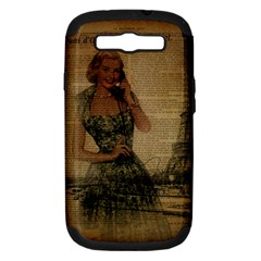 Retro Telephone Lady Vintage Newspaper Print Pin Up Girl Paris Eiffel Tower Samsung Galaxy S III Hardshell Case (PC+Silicone)