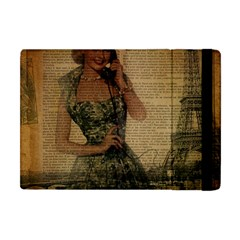 Retro Telephone Lady Vintage Newspaper Print Pin Up Girl Paris Eiffel Tower Apple iPad Mini Flip Case