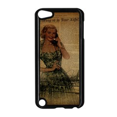 Retro Telephone Lady Vintage Newspaper Print Pin Up Girl Paris Eiffel Tower Apple iPod Touch 5 Case (Black)