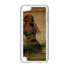 Retro Telephone Lady Vintage Newspaper Print Pin Up Girl Paris Eiffel Tower Apple Ipod Touch 5 Case (white)