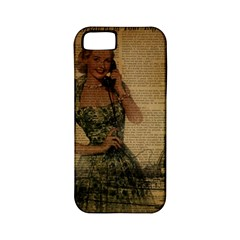 Retro Telephone Lady Vintage Newspaper Print Pin Up Girl Paris Eiffel Tower Apple iPhone 5 Classic Hardshell Case (PC+Silicone)