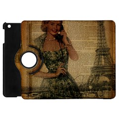 Retro Telephone Lady Vintage Newspaper Print Pin Up Girl Paris Eiffel Tower Apple iPad Mini Flip 360 Case