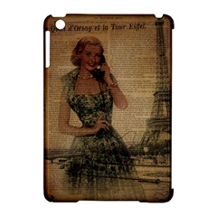 Retro Telephone Lady Vintage Newspaper Print Pin Up Girl Paris Eiffel Tower Apple iPad Mini Hardshell Case (Compatible with Smart Cover)
