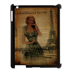 Retro Telephone Lady Vintage Newspaper Print Pin Up Girl Paris Eiffel Tower Apple Ipad 3/4 Case (black)