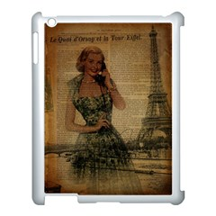 Retro Telephone Lady Vintage Newspaper Print Pin Up Girl Paris Eiffel Tower Apple iPad 3/4 Case (White)