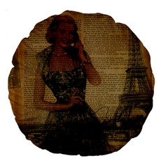 Retro Telephone Lady Vintage Newspaper Print Pin Up Girl Paris Eiffel Tower 18  Premium Round Cushion