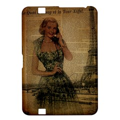 Retro Telephone Lady Vintage Newspaper Print Pin Up Girl Paris Eiffel Tower Kindle Fire HD 8.9  Hardshell Case