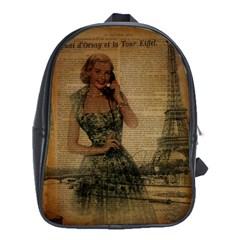 Retro Telephone Lady Vintage Newspaper Print Pin Up Girl Paris Eiffel Tower School Bag (xl)